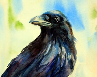 Raven 4 - sign print - watercolor - Bonnie White - Columbia Gorge artist - paintings