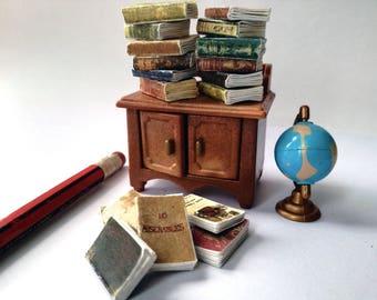 Victorian dollhouse, Miniature books, dolls house bundle, twelfth scale, set of 12, antiquarian books, miniature journals, 1 inch scale