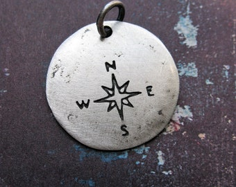 Compass Star Coin Pendant Charm in Sterling Silver - 1 piece - 20mm