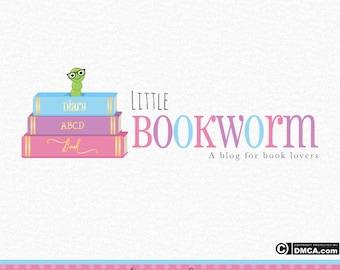Premade Bookworm Logo, Book Logo, Books Logo, Blogger Logo, Business Logo, Branding Logo, Watermark, Blog Logo, Website Logo, Logo Design