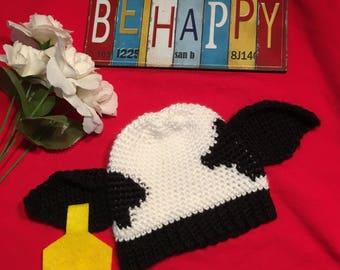 Holstein Cow Hat (Crocheted)