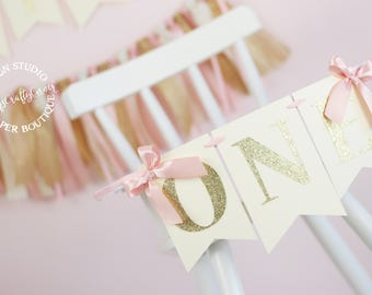 Blush Pink, Ivory and Gold High Chair Birthday Banner