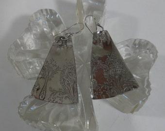 Artisan Sterling Silver Edwardian Design Tab Earrings