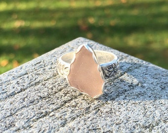 Sea Glass Ring, engagement ring, bezel set in fine & argentium silver, pink puerto rican sea glass, rare, Eco friendly, beach ocean jewelry