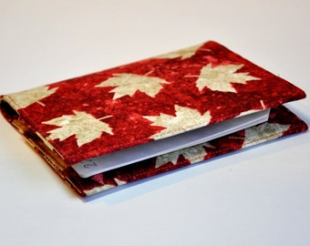 Passport Cover Sleeve Case Holder Maple Leaf  RED AND cream off white Fabric  Canada Theme