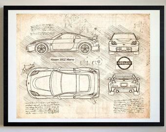 Nissan 350Z Nismo (2003) Da Vinci Sketch, Nissan Artwork, Blueprint Patent Prints Posters, 350 Z Decor, Art, Car Art, Cars (#325)
