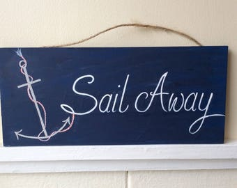Navy Nautical Anchor Sign, Wooden Handpainted Sign, anchor sign, nautical decor, coastal decor