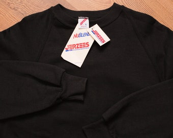 NWT Jerzees Black Raglan Sweatshirt, Vintage 1980s-1990s, Fits L/XL, Blank Long Sleeve Pullover Shirt, New Old Stock with Tags