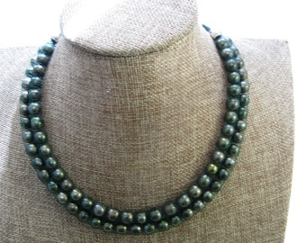Necklace in Lustrous Multi Shades of Green Pearls