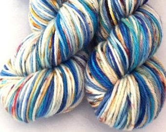 Huntington Beach, Variegated, Speckled, hand dyed yarn, Merino Wool, yarn, 100 grams, Worsted Weight, Superwash
