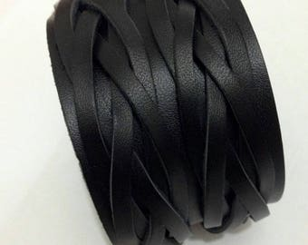 Genuine Leather black wide cuff Bracelet.