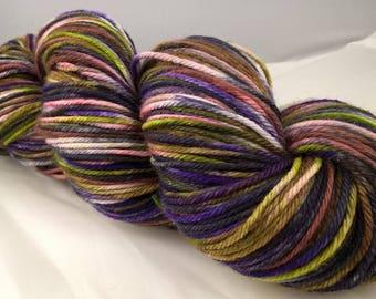 Scheming - Worsted SW Merino yarn- purple red maroon green grey