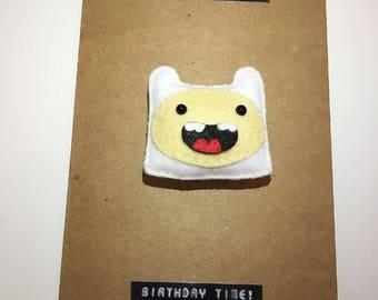 Finn Magnet Card, Adventure Time. Finn the human, Birthday card, Bmo, jake the dog, cute card, princess bubblegum, beeno, finn, magnet card