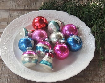 Vintage Shiny Brite Blown Glass Balls Assorted Box Set of 12 Tree Ornaments Holiday Decor Tree Trimming Mercury Glass