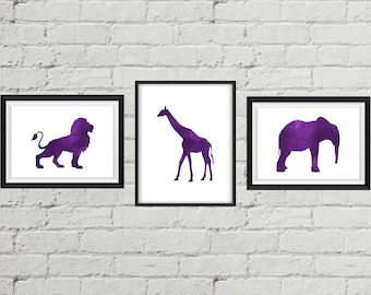 Set of 3 African animal art prints, Purple Background - Digital Download | Wall Decor | Printable | Home Decor | Wall Art | Printable Gift