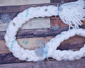Elsa, frozen hair, princess hair, yarn hair braid, dress up costume Halloween yarn braid wig, girls dress up hair