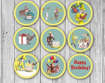 Curious George Cupcake Toppers (Digital)