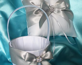 White/Ivory Flower Girl Basket / Ring Bearer Pillow- Silver Satin Ribbons and Rhinestone Bling-Custom Ribbon Colors- U-Pick Pieces-Age to 5