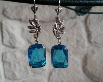 Earrings retro, blue and silver, glass cabochon, leaves silver, vintage earrings, gift for woman