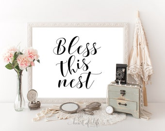 Printable art Black and white art print Bless this nest quote print Family wall art Living room art print Family quote printable wall decor
