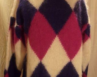 Vtg Fuzzy  Mock turtle-neck Mohair Sweater Large