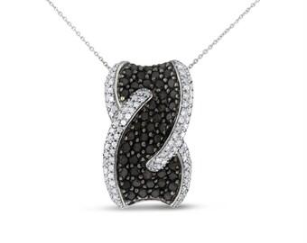 2.42 Carat Natural Black & White Diamond Twised Pendant In Solid 10k White Gold