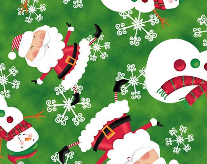 CHRISTMAS FABRIC,  Holly Jolly Santas Holiday Christmas Theme Fabric