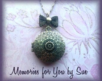 Custom-Keepsake Gift-Round Bronze Magnetic Photo Locket-Personalized-Photo Jewelry-Memorial-Remembrance Pendant-Picture Memory
