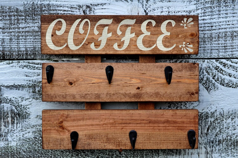 Rustikale Kaffee Tasse Rack Küche Kaffee Becherhalter Wand