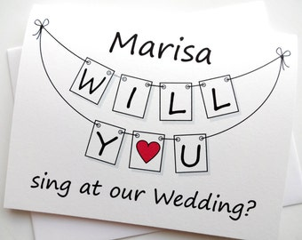 Will You Sing At Our Wedding Card - Personalized Pennant Design