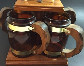 Handcrafted Carrier with 4 Siesta Ware Amber Beer Mugs   1970