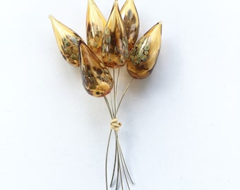 Handmade lampwork hollow  light amber headpins made on silver wire / silver glass / beading / wire wrap
