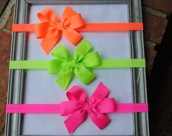 """Set of 3 NEON Toddler Headbands with Bows Baby Headband Set 3"""" Classic Pinwheel Bow on Hair Bands for Babies, Baby Girl Gift Idea Pink Green"""