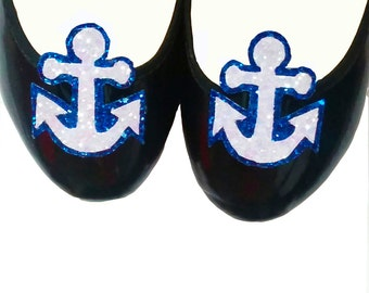 10% off with the code BDAY10  Rockabilly Nautical Anchors Away Glitter Shoe Clips