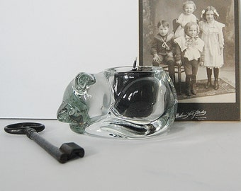 Vintage Cat Candle Holder, Glass Cat Votive Candle or Tea Lights, Sleeping Kitty, Witches Altar