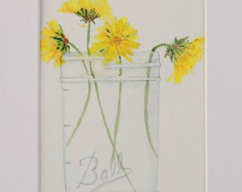 Original Watercolor Dandelions in Ball Jar