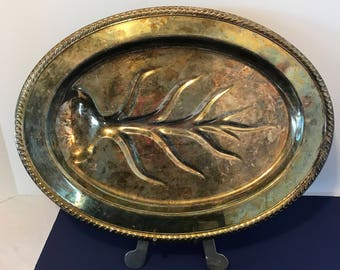 Large Vintage Oval Silver Plated Footed Fish Serving Tray Silver Tray Ornate Silver International Silver Co Platter Shabby Chic