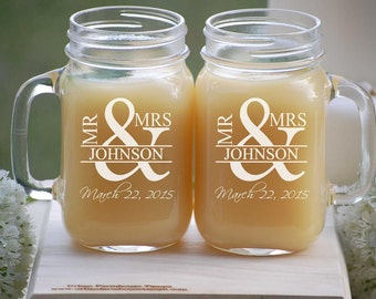 Personalized Wedding Gift, Mr and Mrs Mason Jar Mugs, Engagement Gift Couples Beer Glasses, Anniversary Gift Engraved Beer Mugs His and Hers