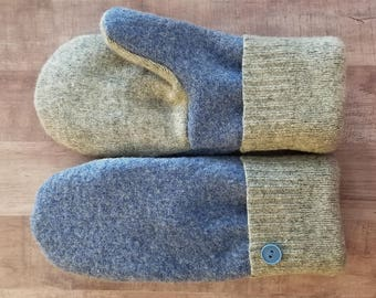 Blue & Grey Felted Wool Mittens - Handmade from Sweater, Woman's Medium/Large -  One-of-a-kind Valentine's Day Gift for Her, Ready to Ship