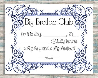 Big Brother Club - Big Brother Certificate