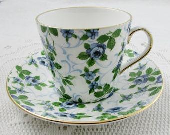 Elizabethan Tea Cup and Saucer, Blue Rose Chintz, Vintage Bone China