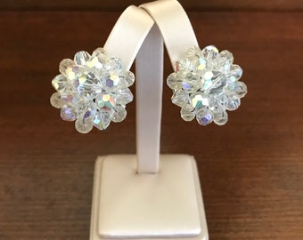 Vintage Crystal Clip-On Earrings. Aurora Borealis Button-Style Clip-Ons. Formal Occasions. Wedding Jewelry. Gifts for Her. Mothers Day Gifts