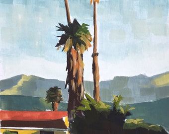 Original Gouache Painting - California Palm Trees - by Sharon Schock, fits 8x10 frame