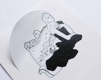 Large round Sticker / Girls in Sofa / sticker