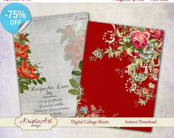 75% OFF SALE Elegy XL - Digital Collage Sheets Printable download, Greeting Cards, Large digital image,Transfer Image for bags books fabrics