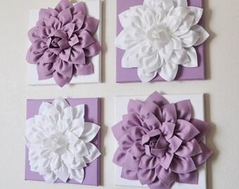 Dahlia Flower Textured Wall Art - Dahlia Art - Home Decor - Nursery Wall Art - Largel Wall Art - Lilac And White Wall Art -  Wall Decor