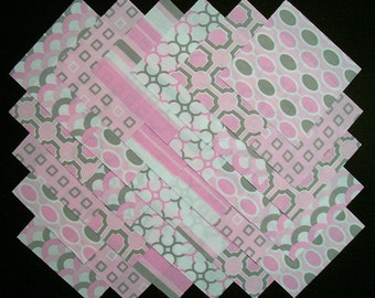 PINK & GRAY 5 inch Squares,  100% cotton,  Prewashed  Quilt Block Fabric  (#84B)