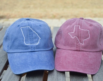 States A-M, Monogrammed hat, State Outline Hat, State hat, Monogrammed state hat, State outline, State pride,