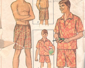 Simplicity 6562 1960s Mens Jersey Trunks Swimsuit and Pullover Shirt Pattern Swim Shorts Adult Vintage Sewing Pattern Size MD Chest 38 40