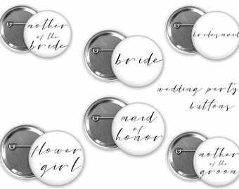 Simple Bridal Party Buttons